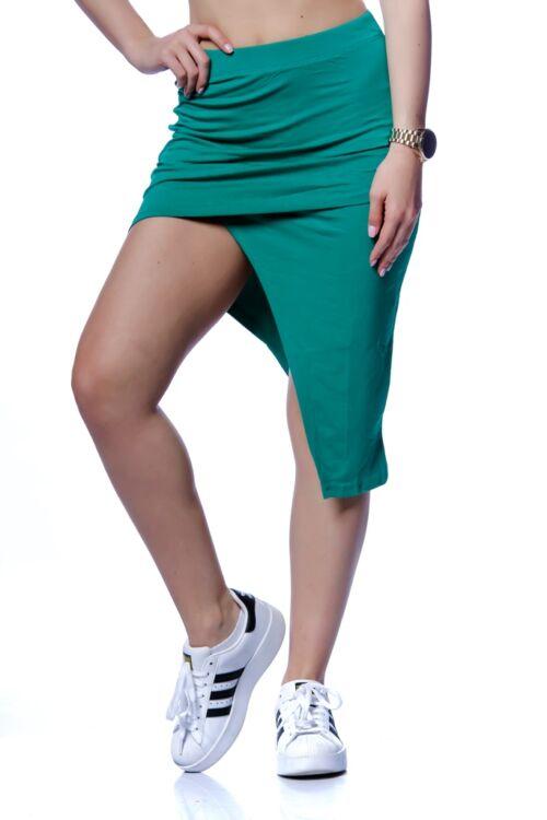 Aszimmetrikus aljú mini szoknya - Green