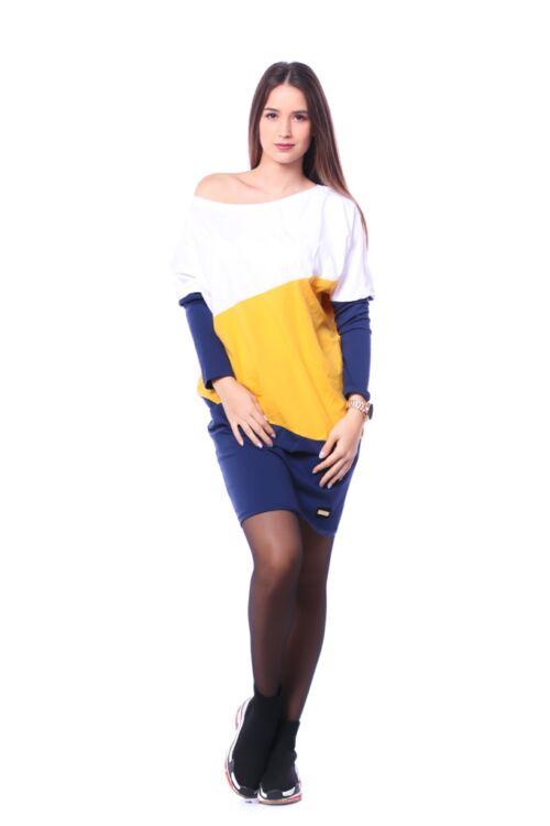Color Block bő szabású ruha - Dark Blue - Mustard - White