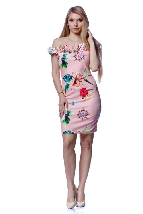 Vállra húzott virágmintás mini ruha - Quartz Rose Floral Print