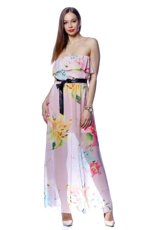 Vállra húzott virágmintás midi ruha - Quartz Rose Floral Print