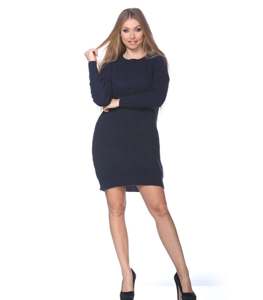 Lodný krk pletené mini-šaty bočné vrecká - Mini šaty - VICTORIA MODA ... 7859c2ada7